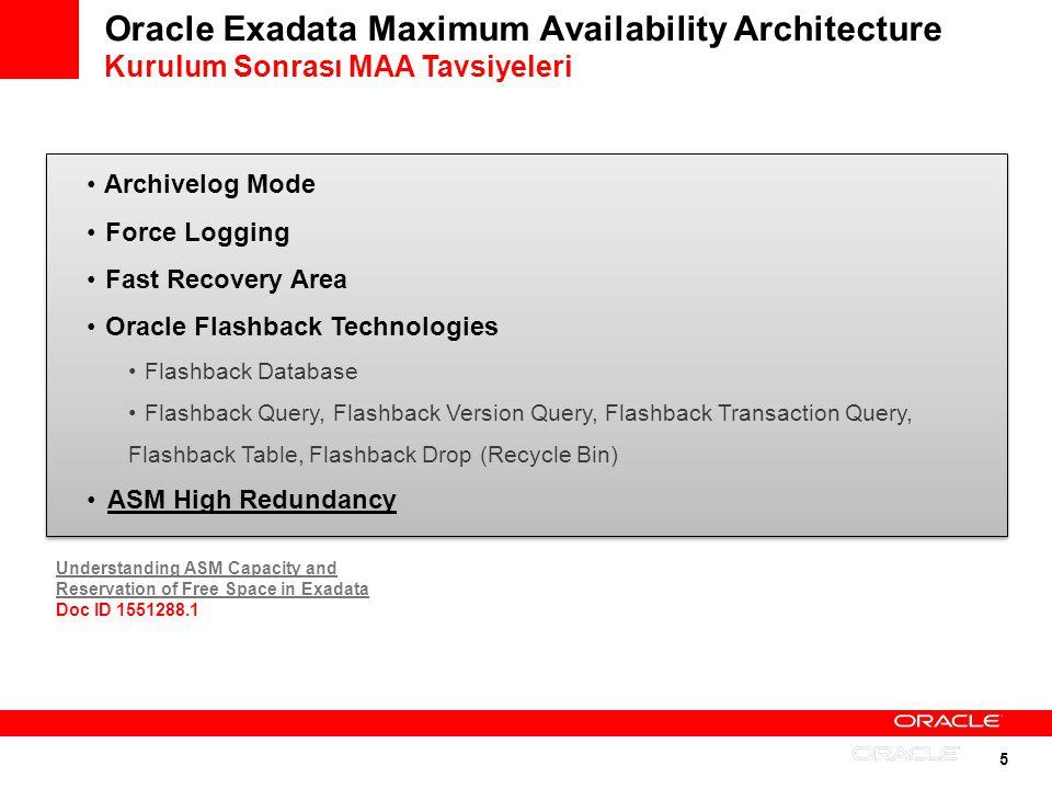 Oracle Exadata Maximum Availability Architecture Kurulum Sonrası MAA Tavsiyeleri