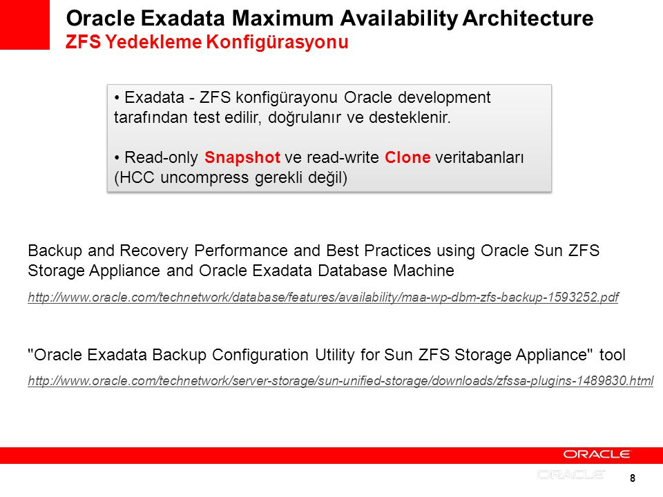 Oracle Exadata Maximum Availability Architecture ZFS Yedekleme Konfigürasyonu