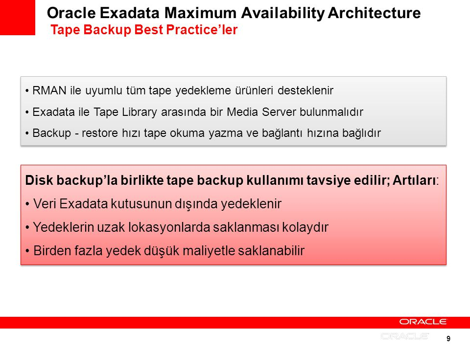 Oracle Exadata Maximum Availability Architecture Tape Backup Best Practice'ler