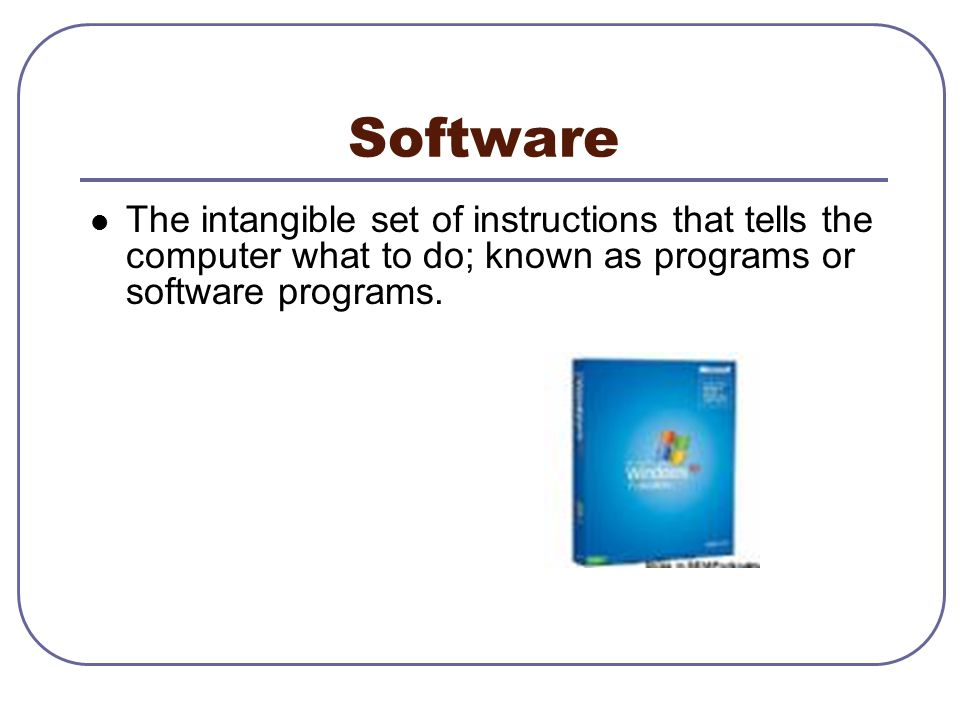 Software The intangible set of instructions that tells the computer what to do; known as programs or software programs.