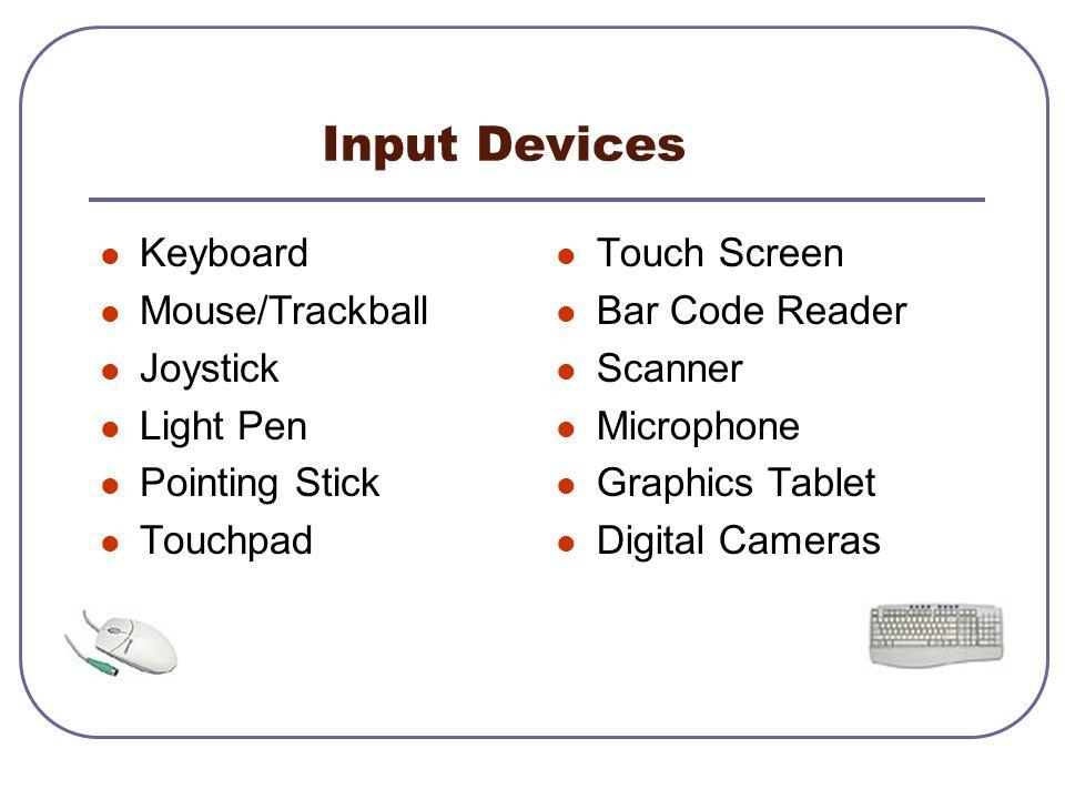 Input Devices Keyboard Mouse/Trackball Joystick Light Pen