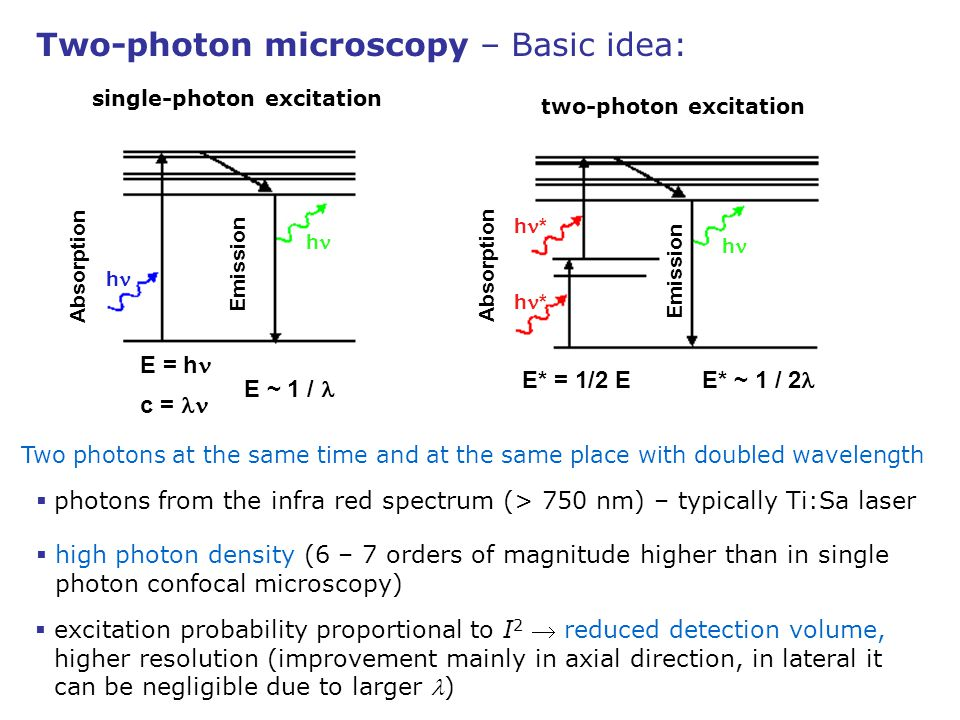 single-photon excitation two-photon excitation
