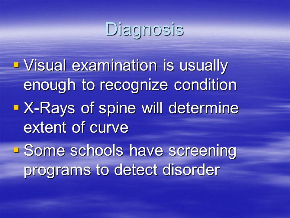 Diagnosis Visual examination is usually enough to recognize condition