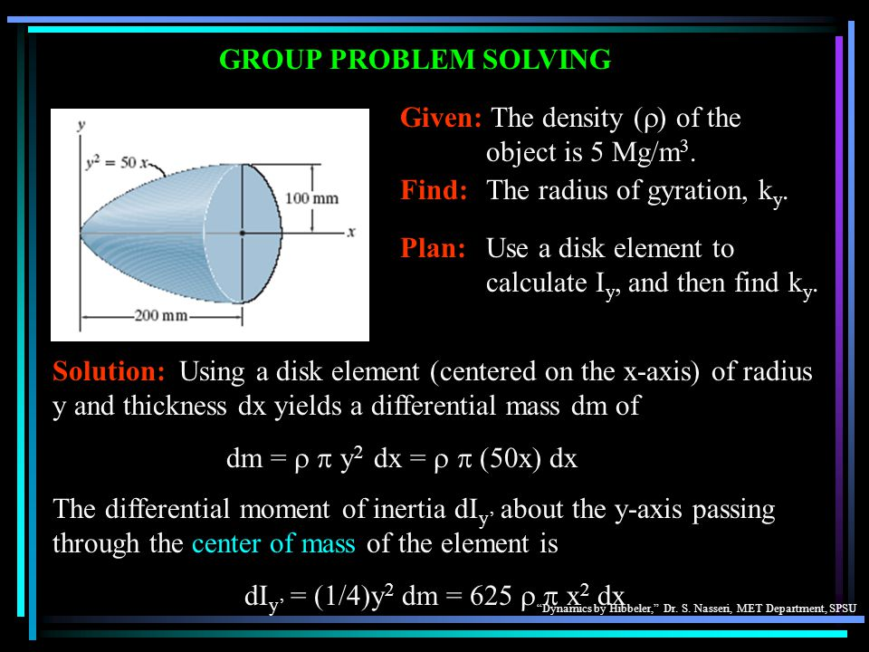 GROUP PROBLEM SOLVING Given: The density (r) of the object is 5 Mg/m3. Find: The radius of gyration, ky.
