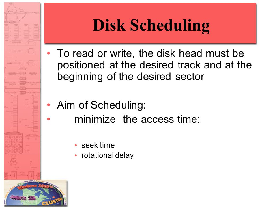 Disk Scheduling To read or write, the disk head must be positioned at the desired track and at the beginning of the desired sector.