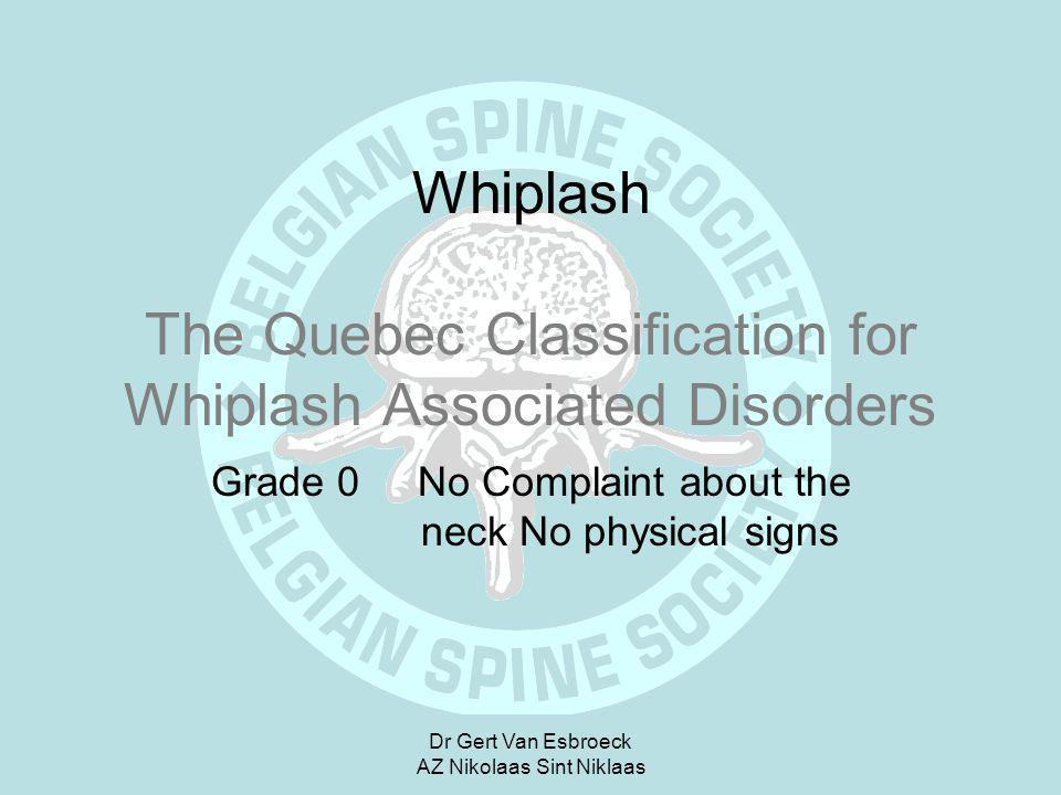 Whiplash The Quebec Classification for Whiplash Associated Disorders