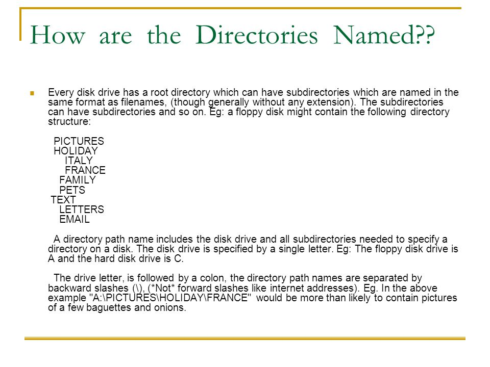 How are the Directories Named