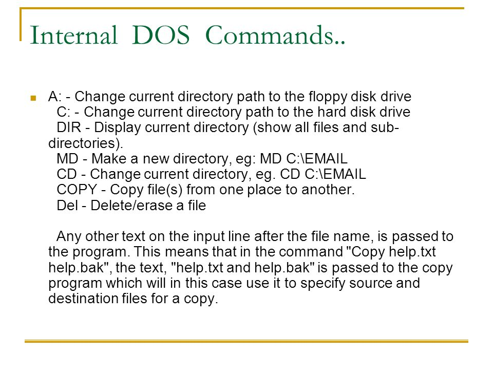 Internal DOS Commands..