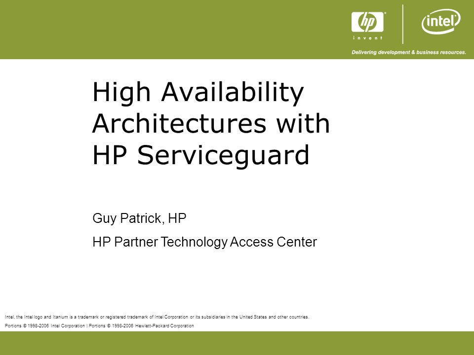 High Availability Architectures with HP Serviceguard