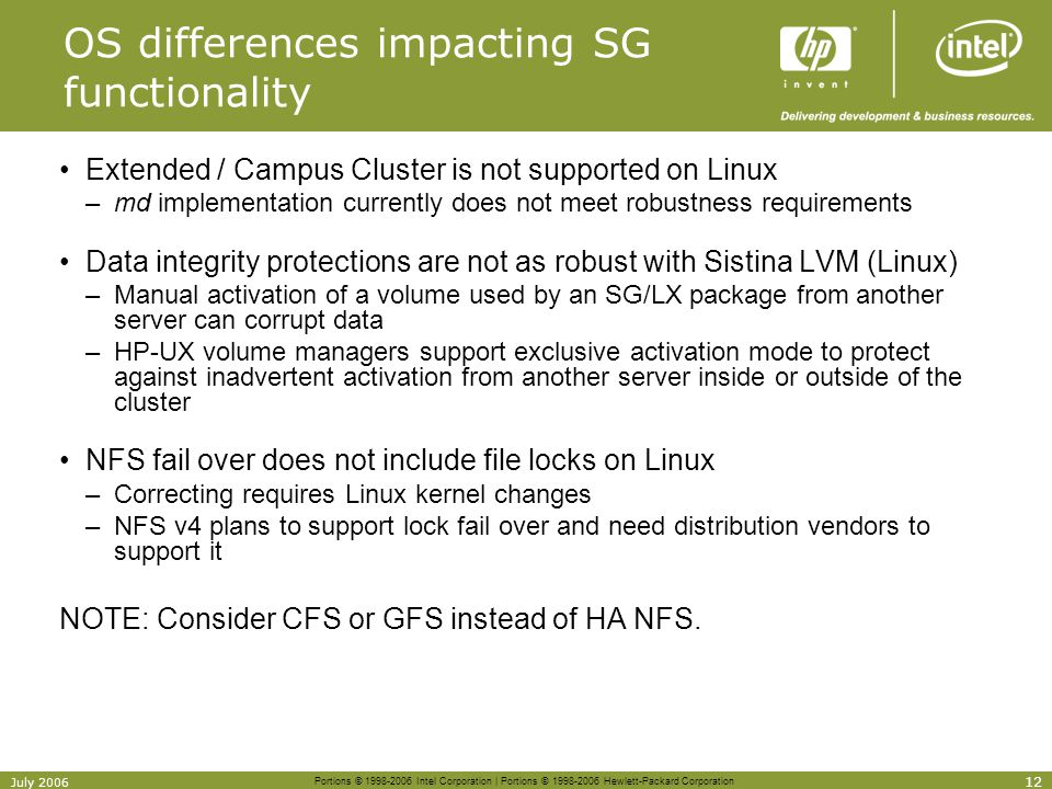 OS differences impacting SG functionality