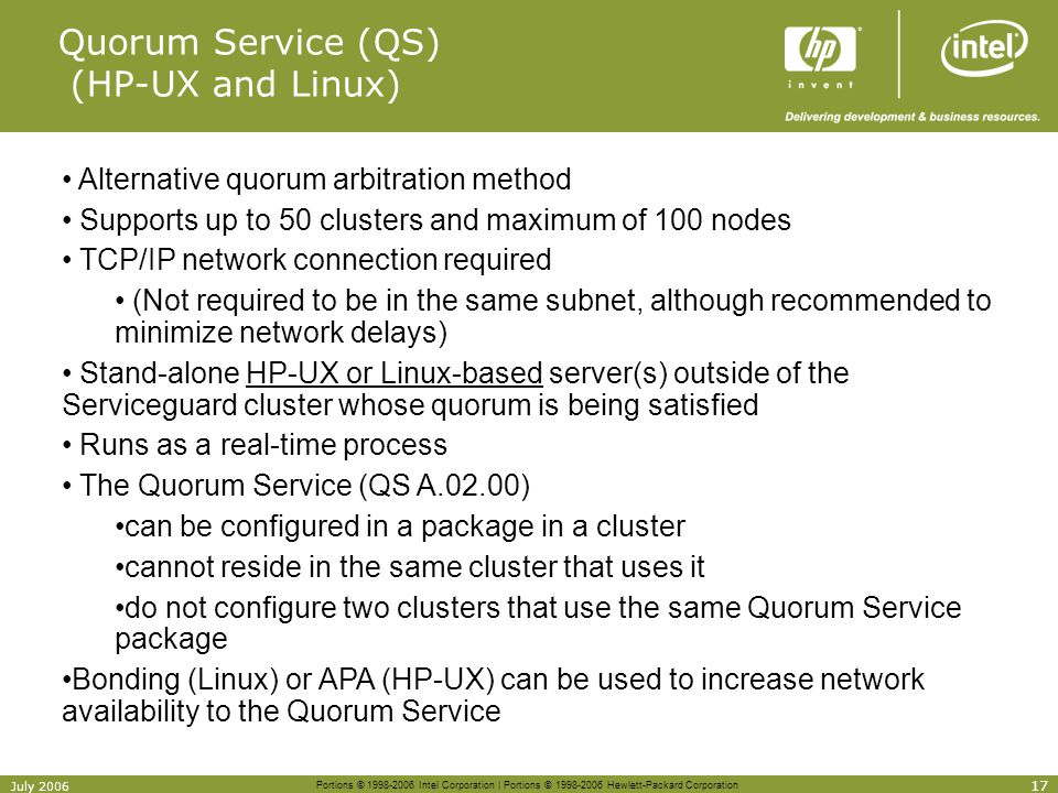 Quorum Service (QS) (HP-UX and Linux)