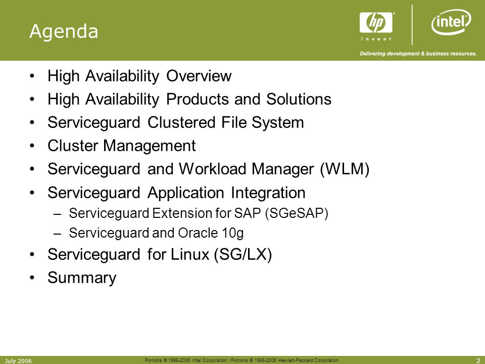 Agenda High Availability Overview