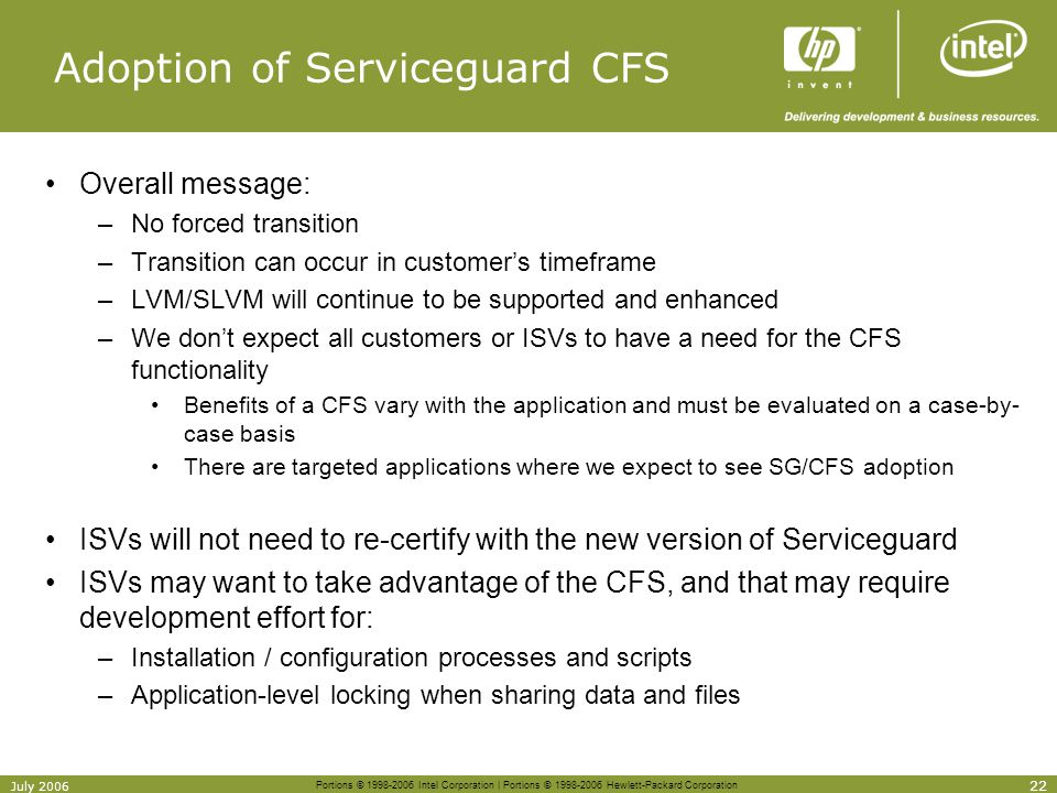 Adoption of Serviceguard CFS