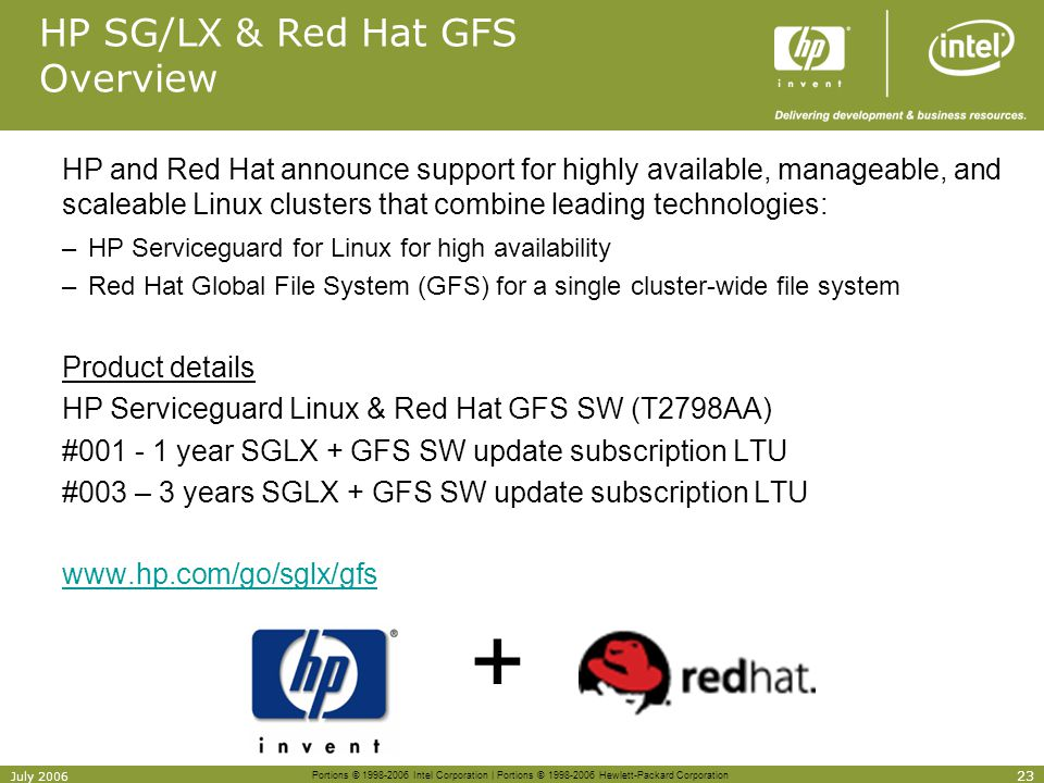HP SG/LX & Red Hat GFS Overview