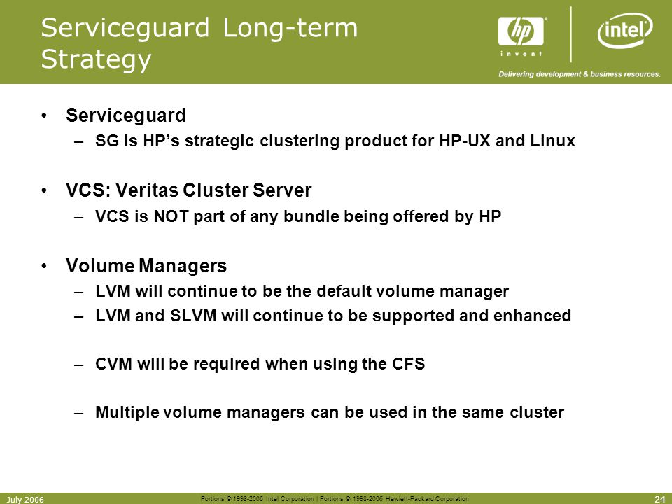 Serviceguard Long-term Strategy