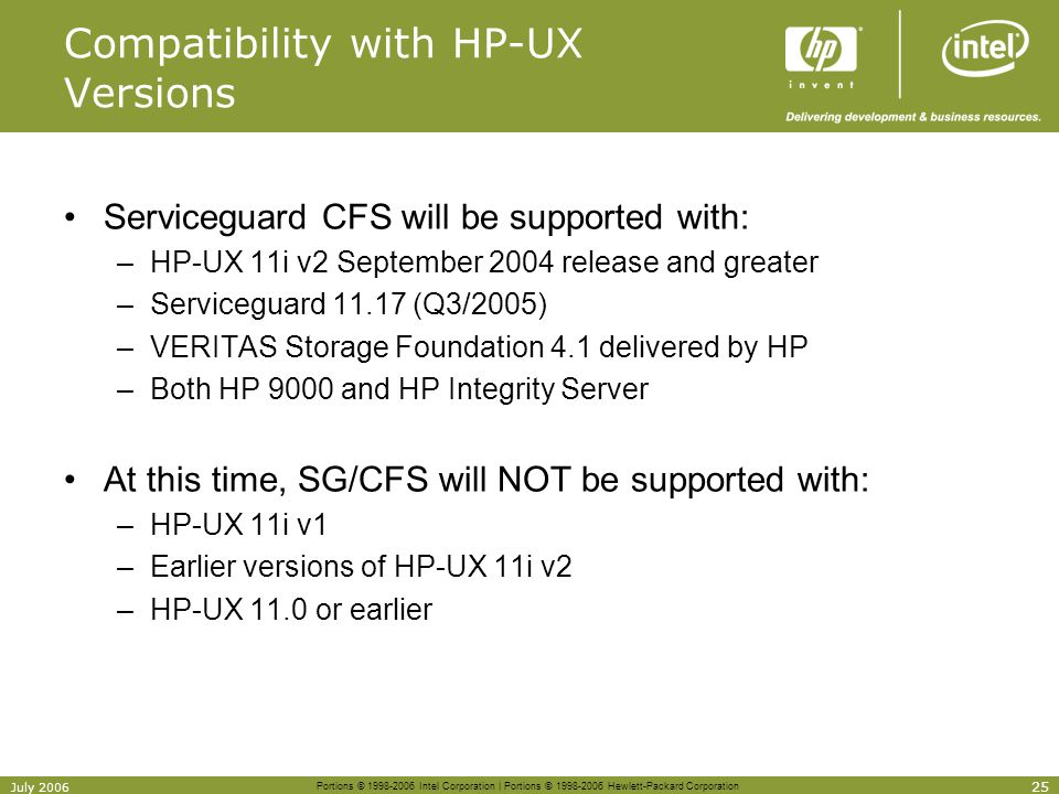 Compatibility with HP-UX Versions