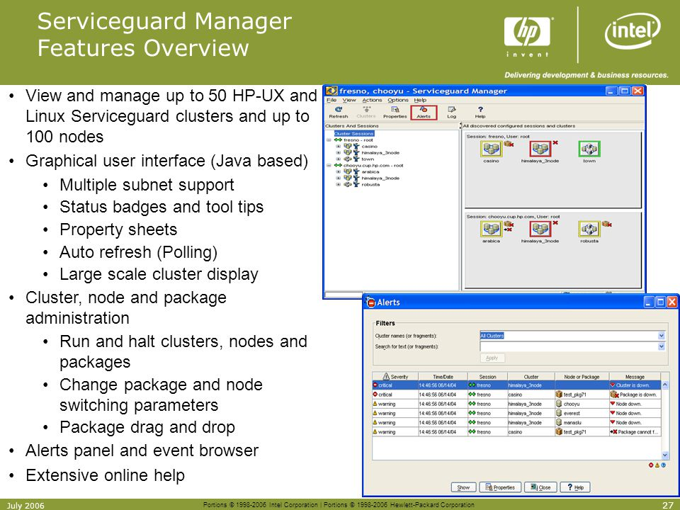 Serviceguard Manager Features Overview