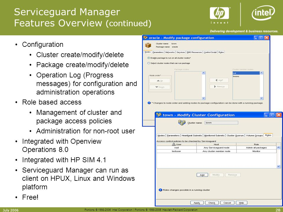 Serviceguard Manager Features Overview (continued)