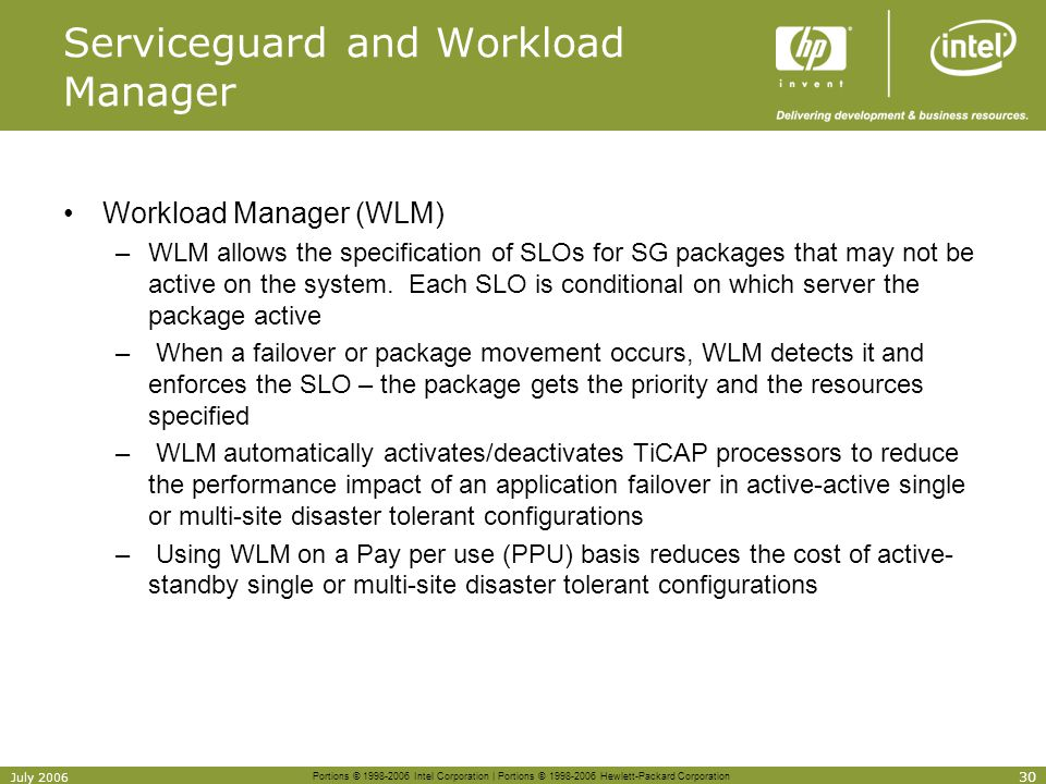 Serviceguard and Workload Manager