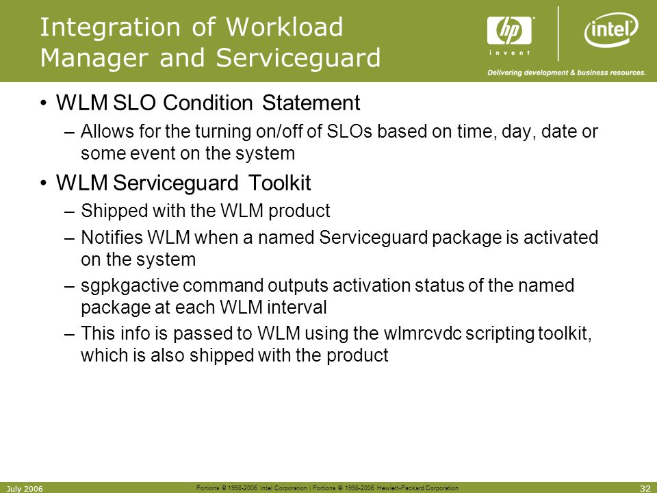 Integration of Workload Manager and Serviceguard