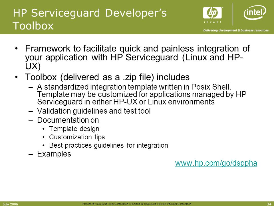 HP Serviceguard Developer's Toolbox