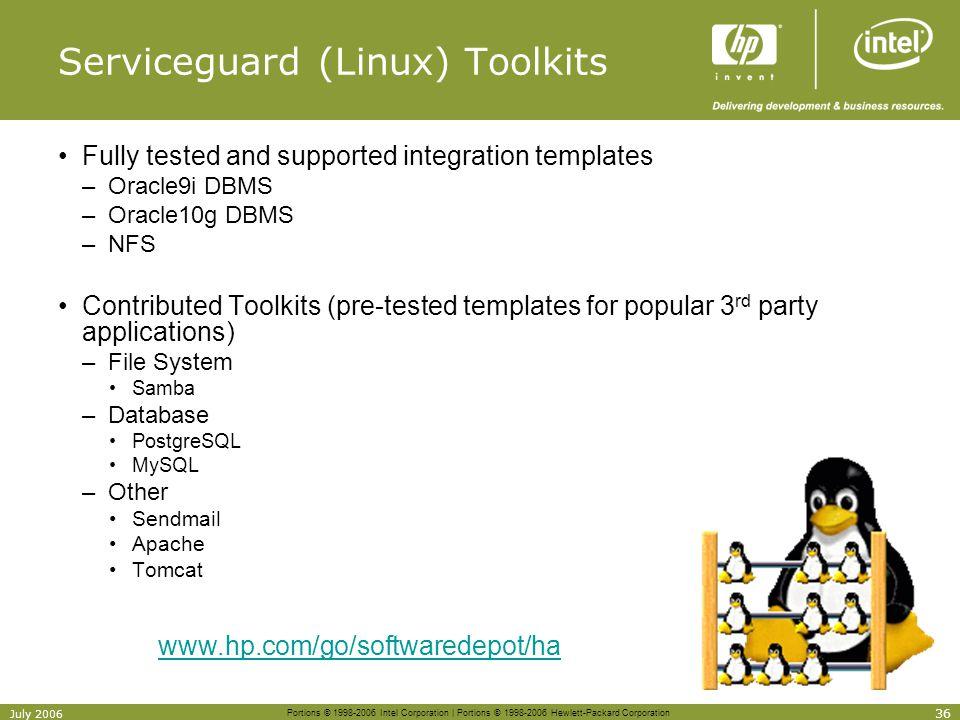 Serviceguard (Linux) Toolkits