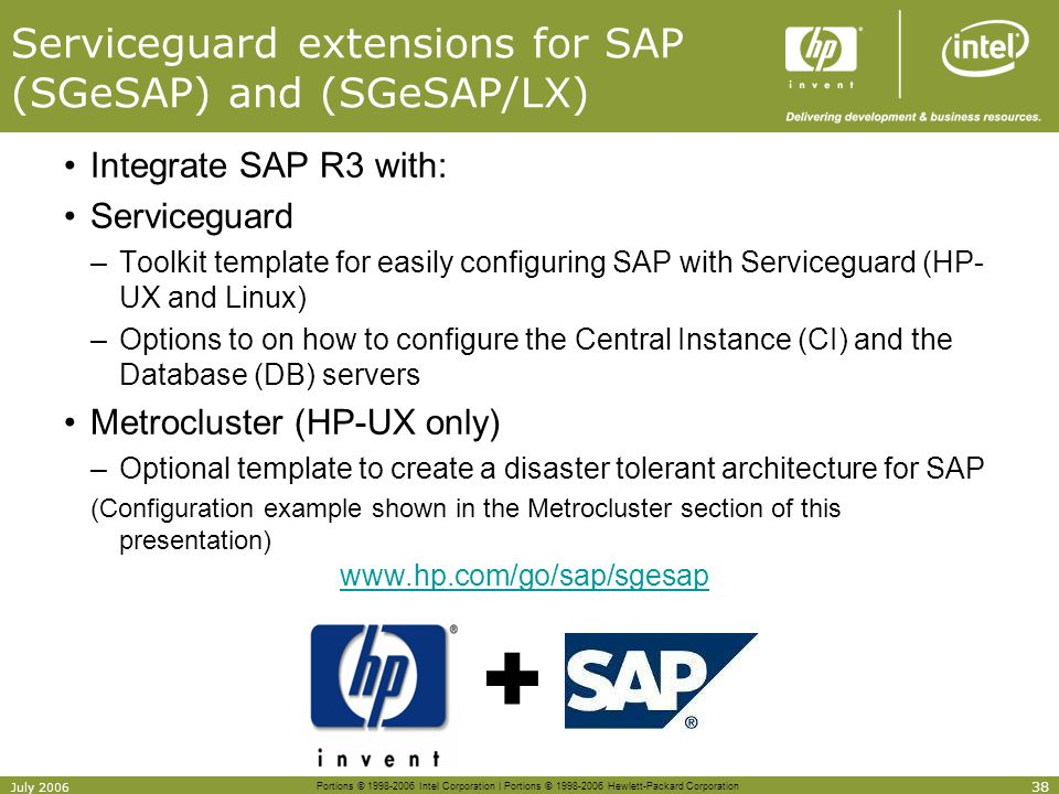 Serviceguard extensions for SAP (SGeSAP) and (SGeSAP/LX)
