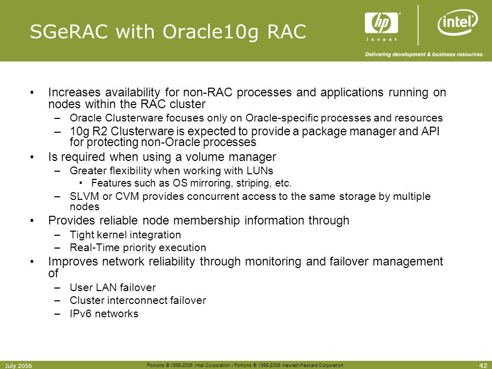 SGeRAC with Oracle10g RAC