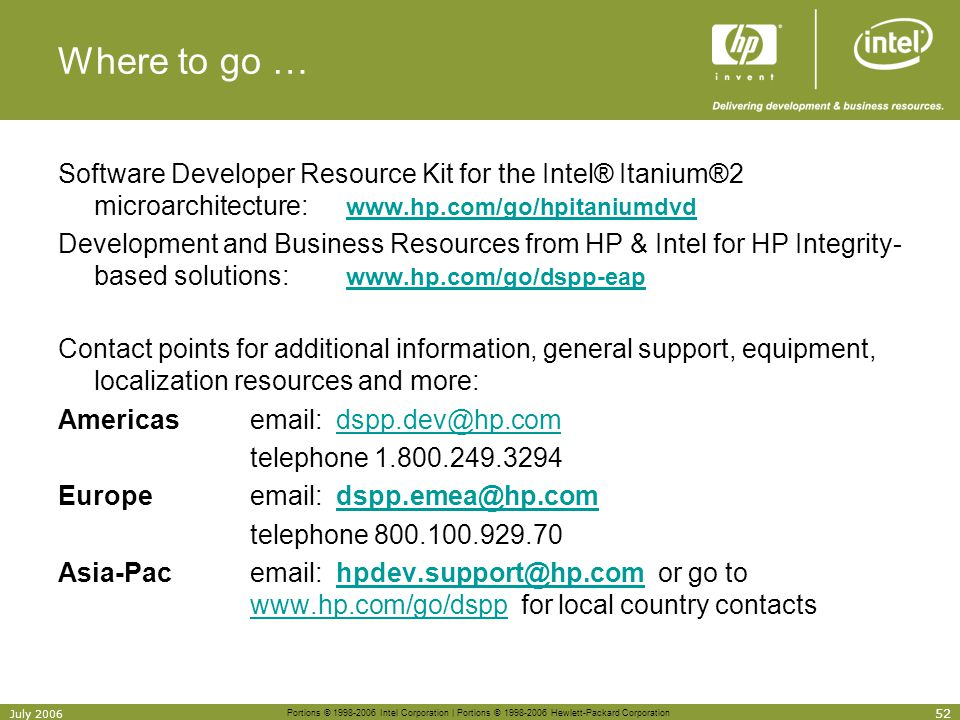 Where to go … Software Developer Resource Kit for the Intel® Itanium®2 microarchitecture: www.hp.com/go/hpitaniumdvd.