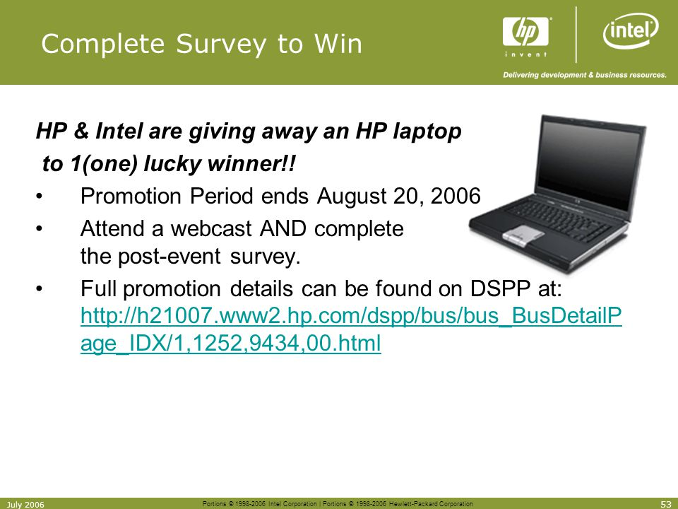 Complete Survey to Win HP & Intel are giving away an HP laptop