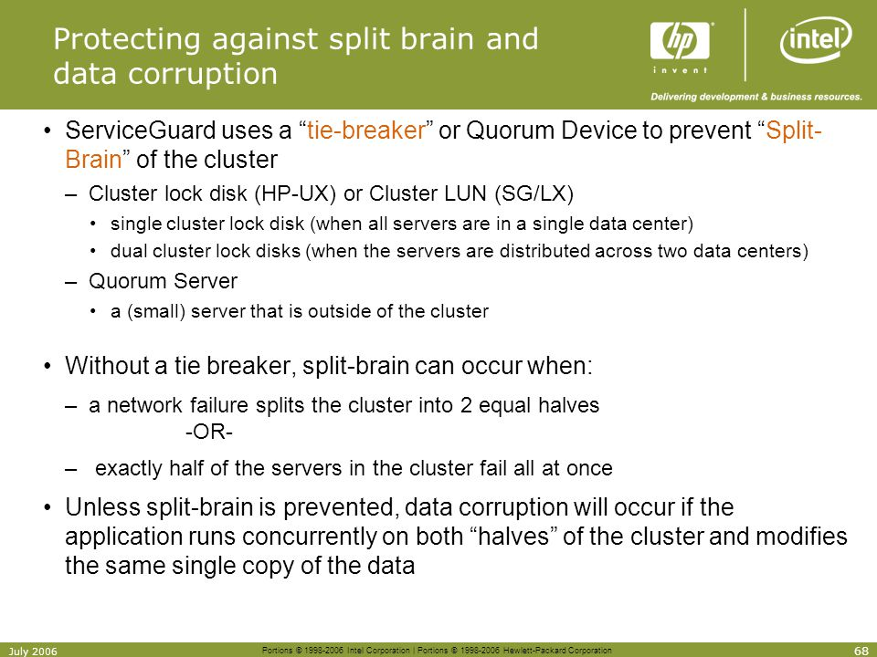 Protecting against split brain and data corruption