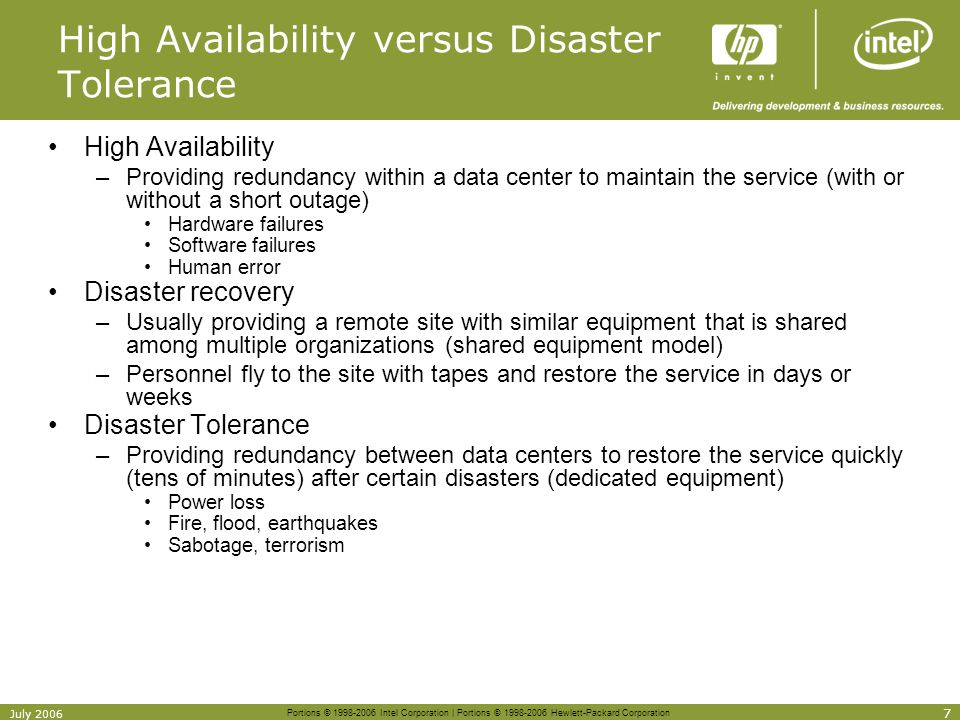High Availability versus Disaster Tolerance