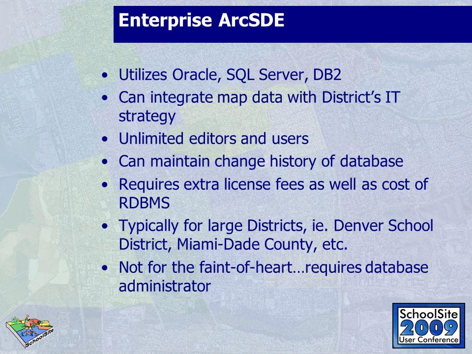 Enterprise ArcSDE Utilizes Oracle, SQL Server, DB2