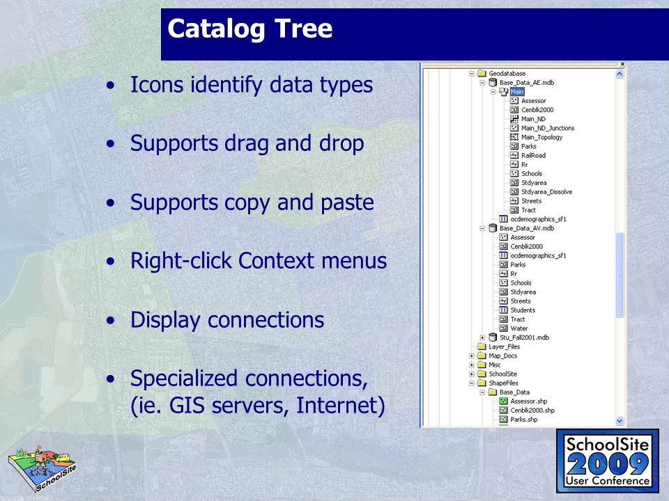 Catalog Tree Icons identify data types Supports drag and drop