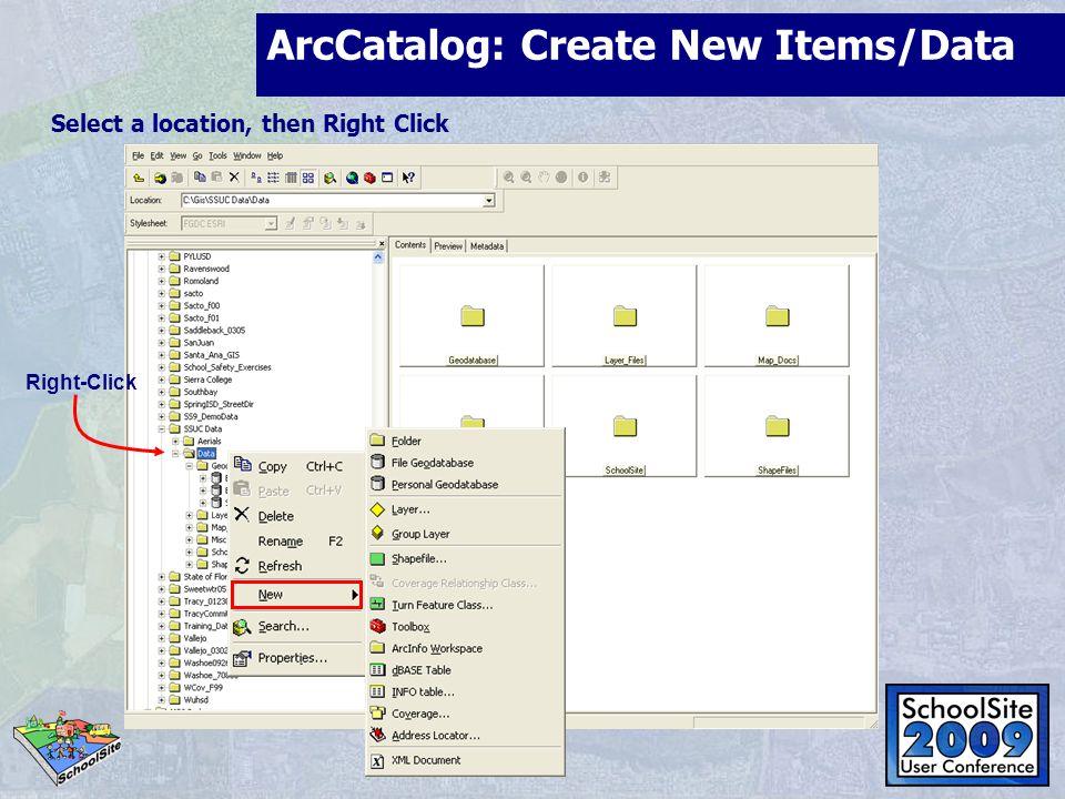 ArcCatalog: Create New Items/Data