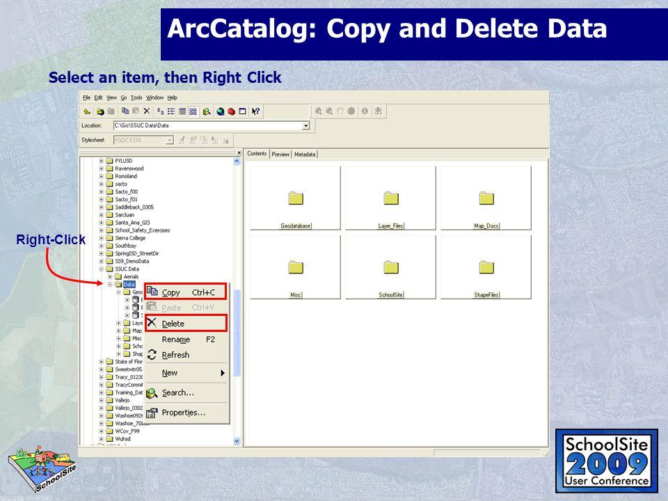 ArcCatalog: Copy and Delete Data