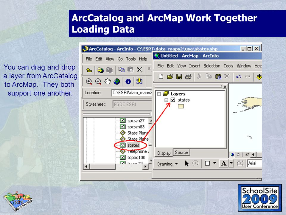 ArcCatalog and ArcMap Work Together Loading Data