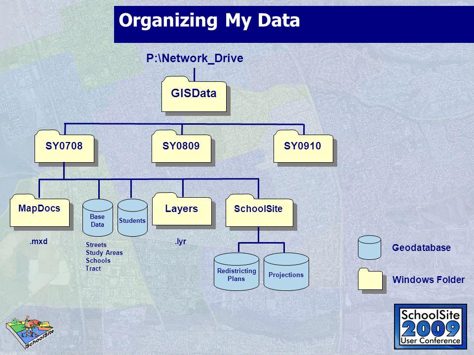 Organizing My Data P:\Network_Drive GISData SY0708 SY0809 SY0910