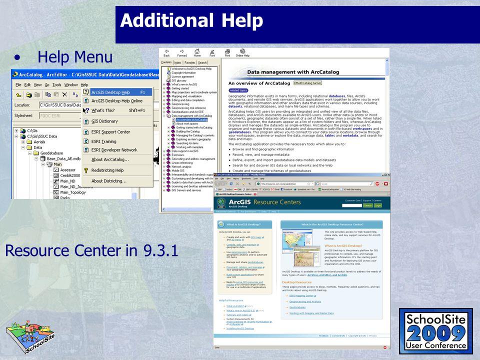 Additional Help Help Menu Resource Center in 9.3.1