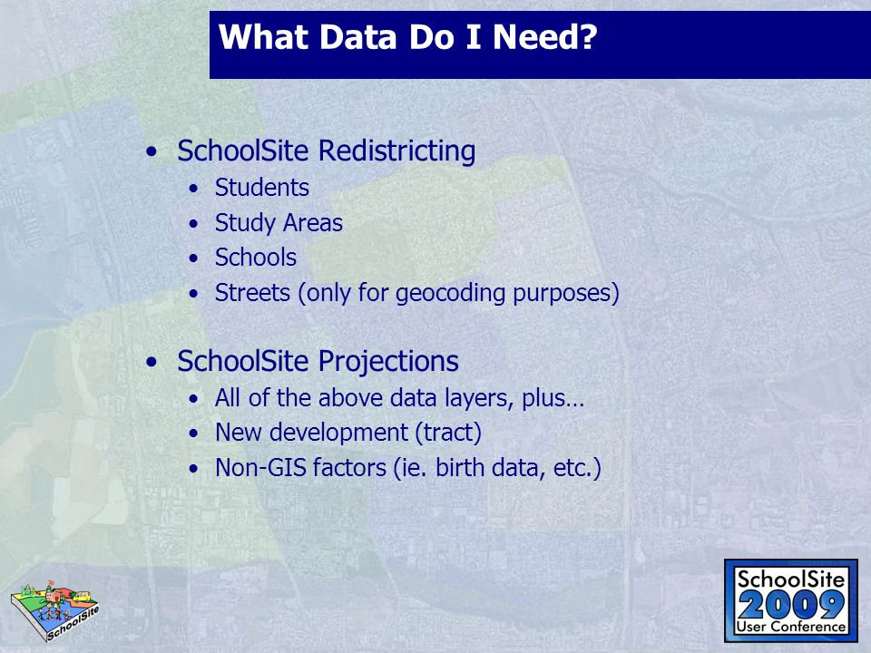 What Data Do I Need SchoolSite Redistricting SchoolSite Projections