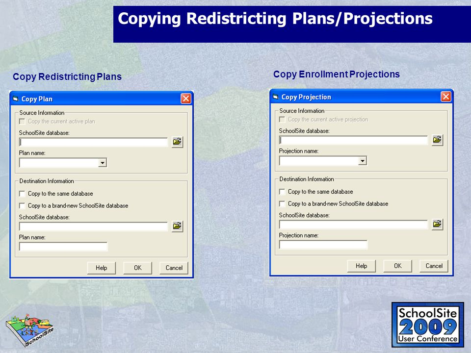 Copying Redistricting Plans/Projections