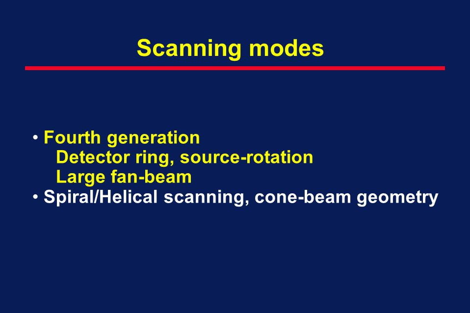 Scanning modes Fourth generation Detector ring, source-rotation
