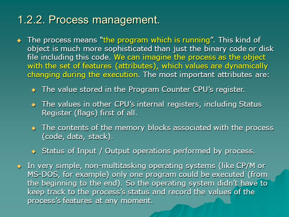 1.2.2. Process management.