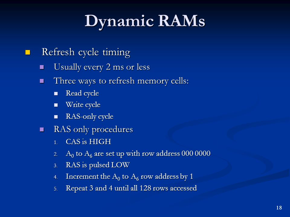 Dynamic RAMs Refresh cycle timing Usually every 2 ms or less