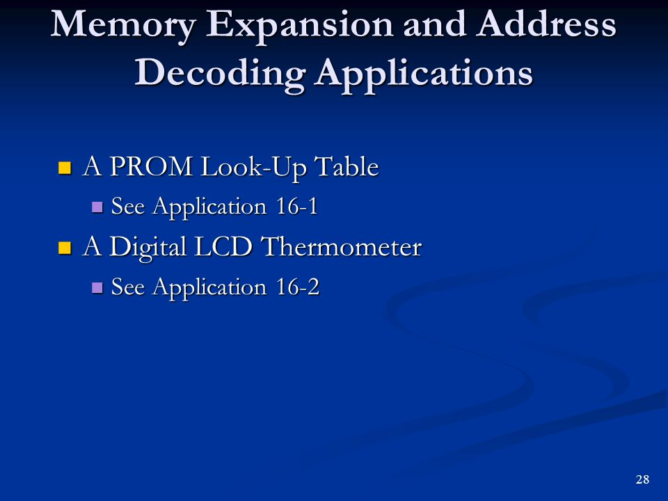 Memory Expansion and Address Decoding Applications