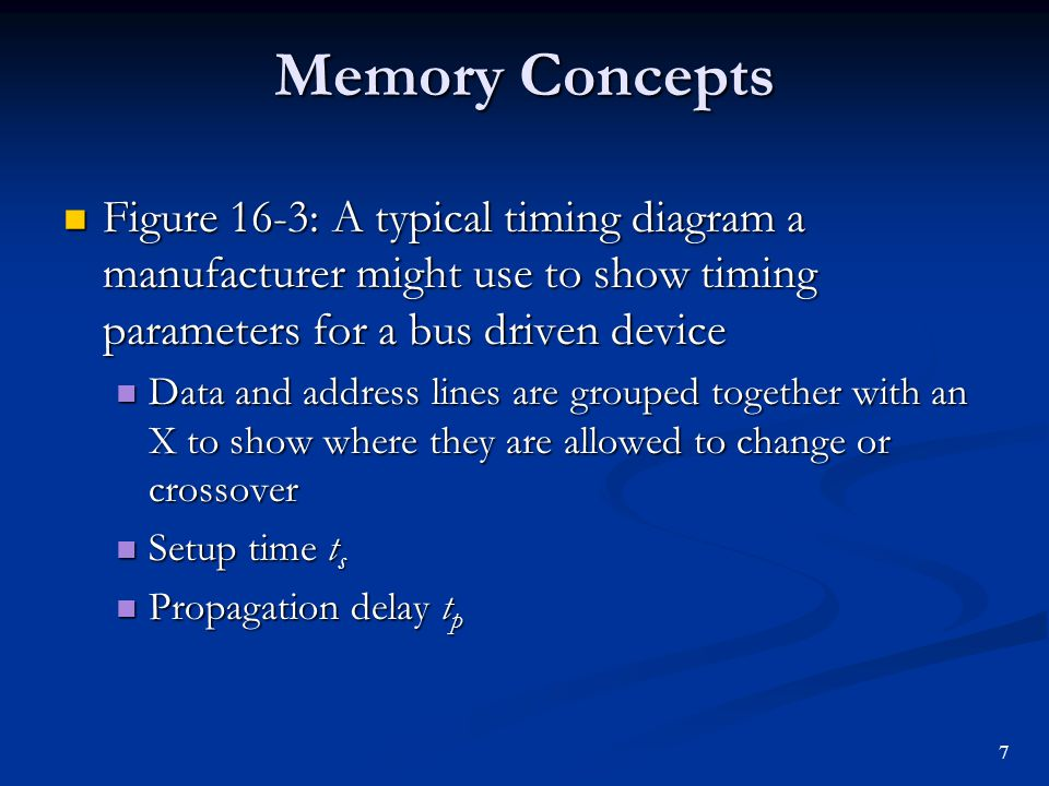 Memory Concepts Figure 16-3: A typical timing diagram a manufacturer might use to show timing parameters for a bus driven device.