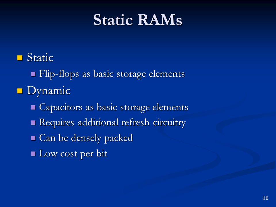 Static RAMs Static Dynamic Flip-flops as basic storage elements