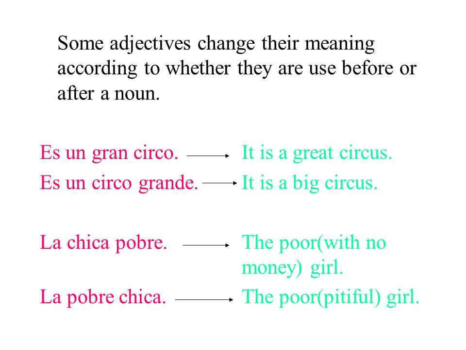 Some adjectives change their meaning according to whether they are use before or after a noun.