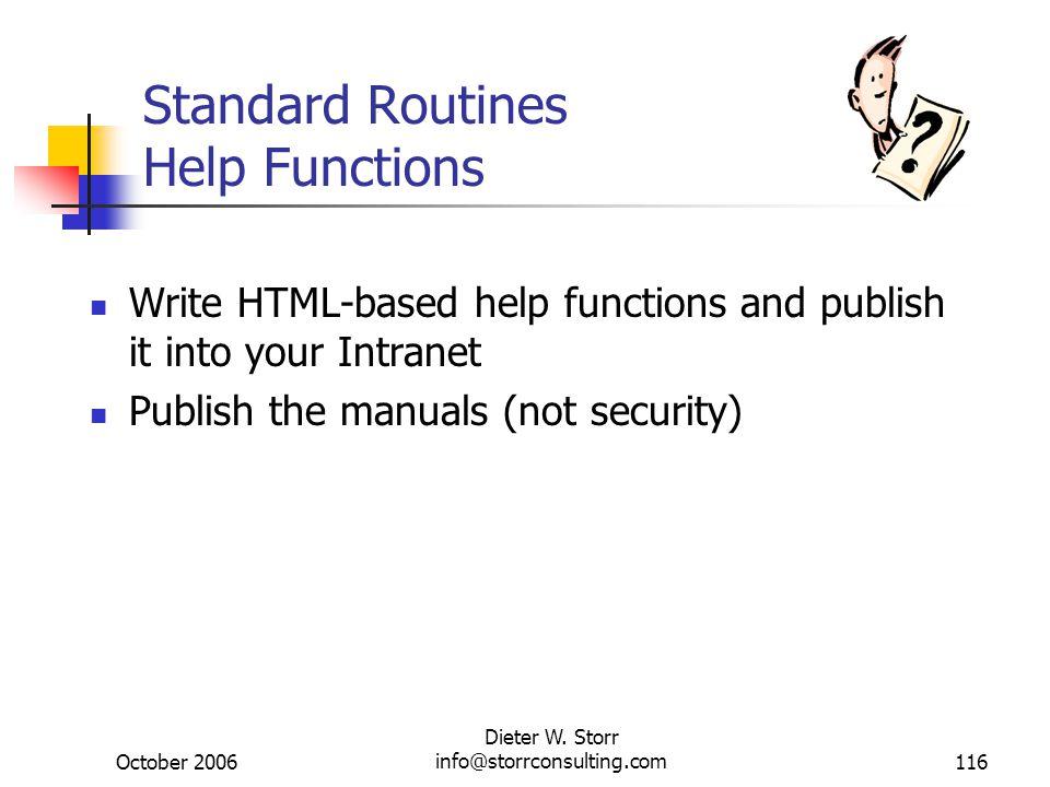 Standard Routines Help Functions