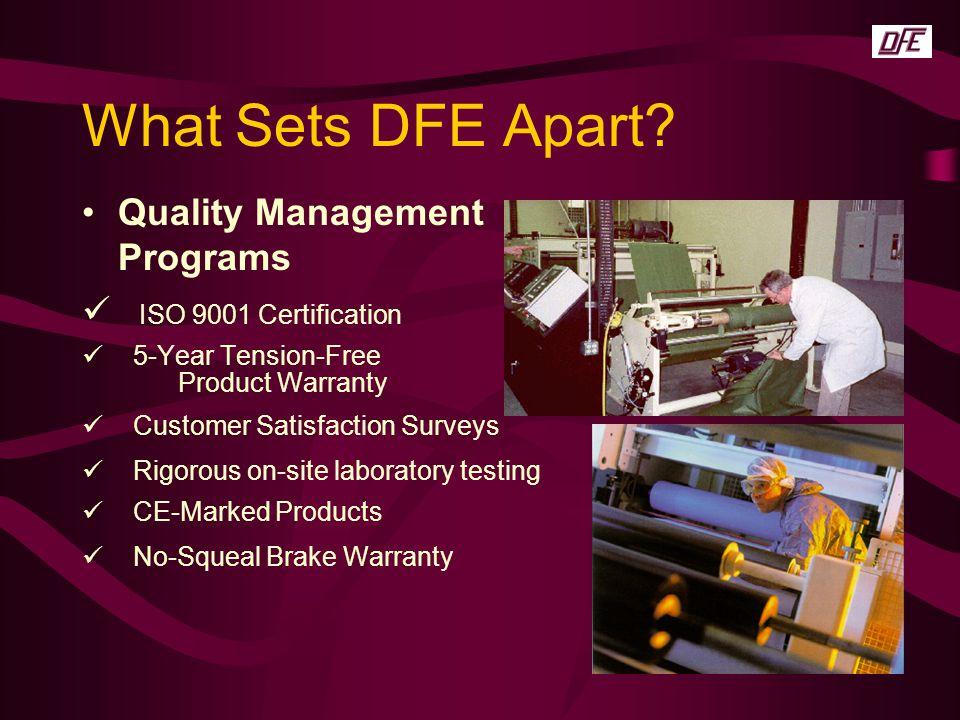 What Sets DFE Apart Quality Management Programs